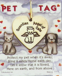 Cat Guardian Angel Tag, Brass