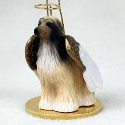 Afghan, Tan/White Dog Angel Ornament