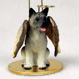 Akita, Gray Dog Angel Ornament