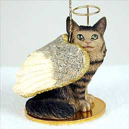 Maine Coon Brown Tabby Cat Angel Ornament