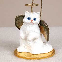 Persian White Cat Angel Ornament