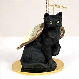 Shorthair, Black Tabby Cat Angel Ornament