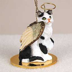 Shorthair, Black/White Tabby Cat Angel Ornament