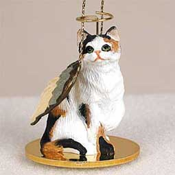 Shorthair, Calico Cat Angel Ornament