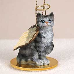 Shorthair, Silver Tabby Cat Angel Ornament