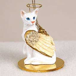 Shorthair, White (Oriental) Cat Angel Ornament