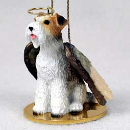 Wire Haired Fox Terrier Dog Angel Ornament