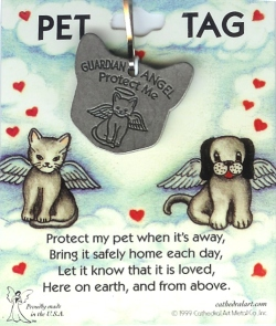 Cat Guardian Angel Tag, Pewter